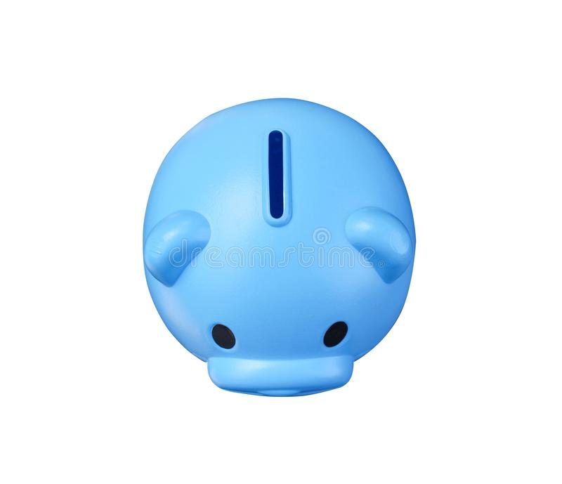 Scatola blu vuota variopinta di risparmio del porcellino salvadanaio o dei soldi di vista superiore isolata su fondo bianco con i fotografia stock libera da diritti
