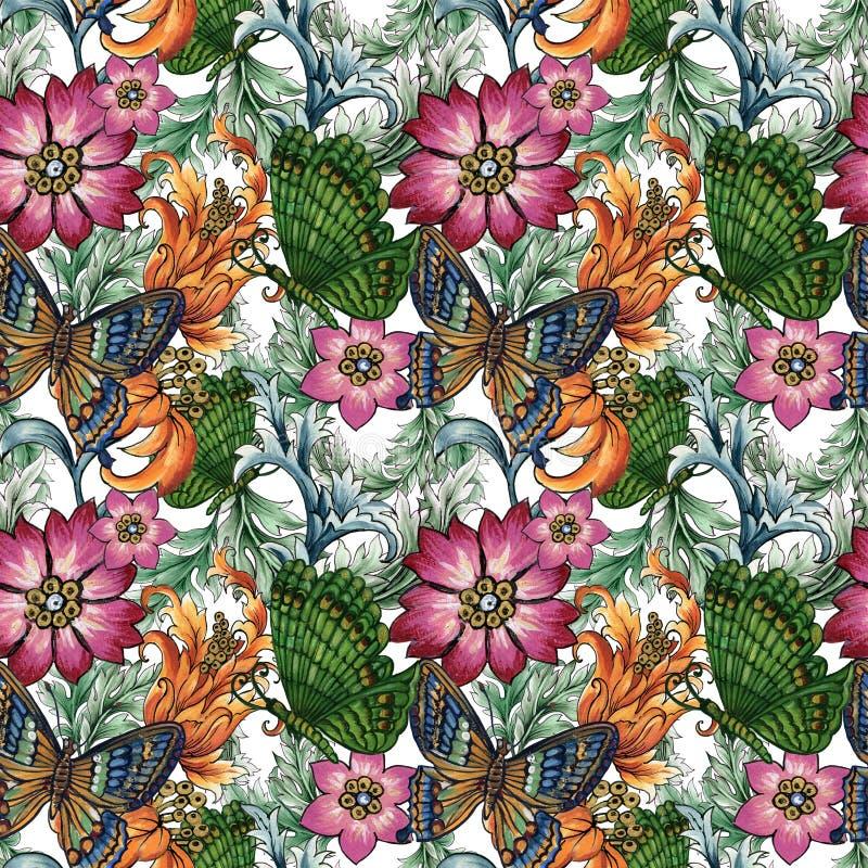 Scatola colorata di farfalla con fantasie astratte fiori e foglie di Paisley o Damask Stile Baroque Watercolor Gouache illustrazione vettoriale
