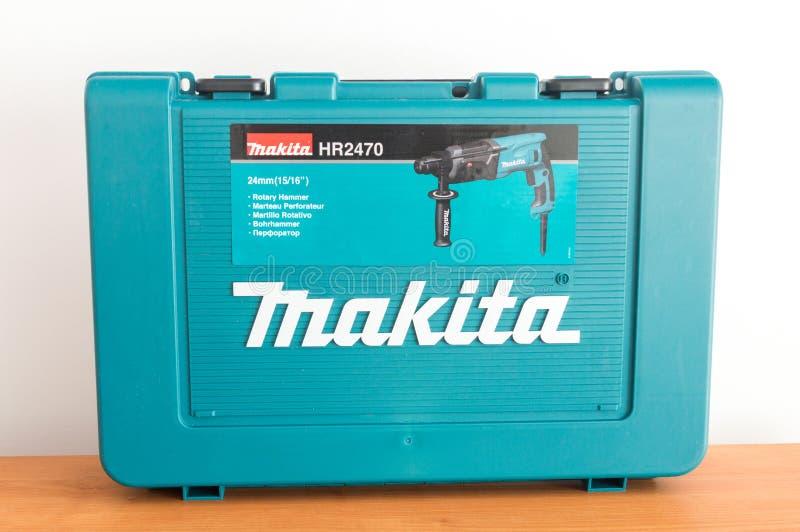 Scatola con il martello pneumatico rotatorio HR2470 di Makita fotografia stock