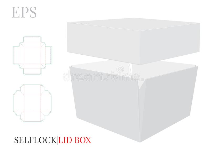Scatola con il modello del coperchio Il vettore con tagliato/laser ha tagliato gli strati Scatola quadrata bianca, chiara, in bia illustrazione di stock