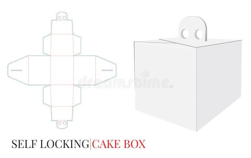 Scatola con la maniglia, scatola da pasticceria di consegna, auto che chiude scatola a chiave illustrazione di stock