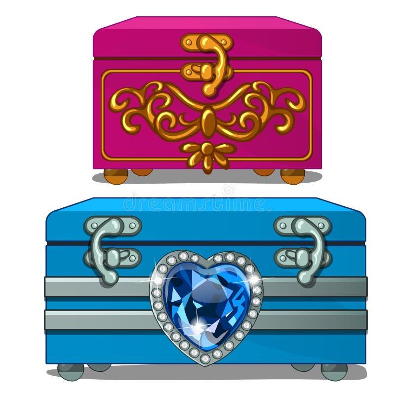 Scatola con oro decorato e scatola con il cuore dello zaffiro illustrazione vettoriale