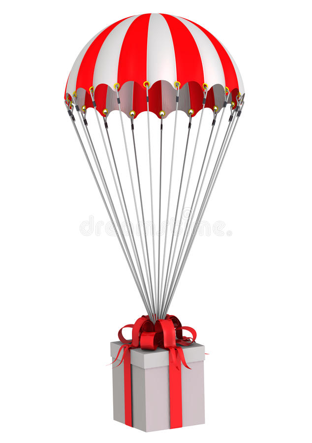 Scatola con un volo del regalo su un paracadute illustrazione vettoriale