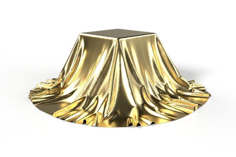 Scatola coperta di tessuto dorato royalty illustrazione gratis