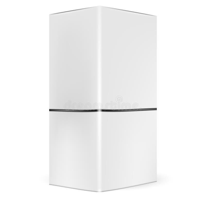 Scatola d'imballaggio grigia bianca con il mezzo coperchio immaginario illustrazione di stock