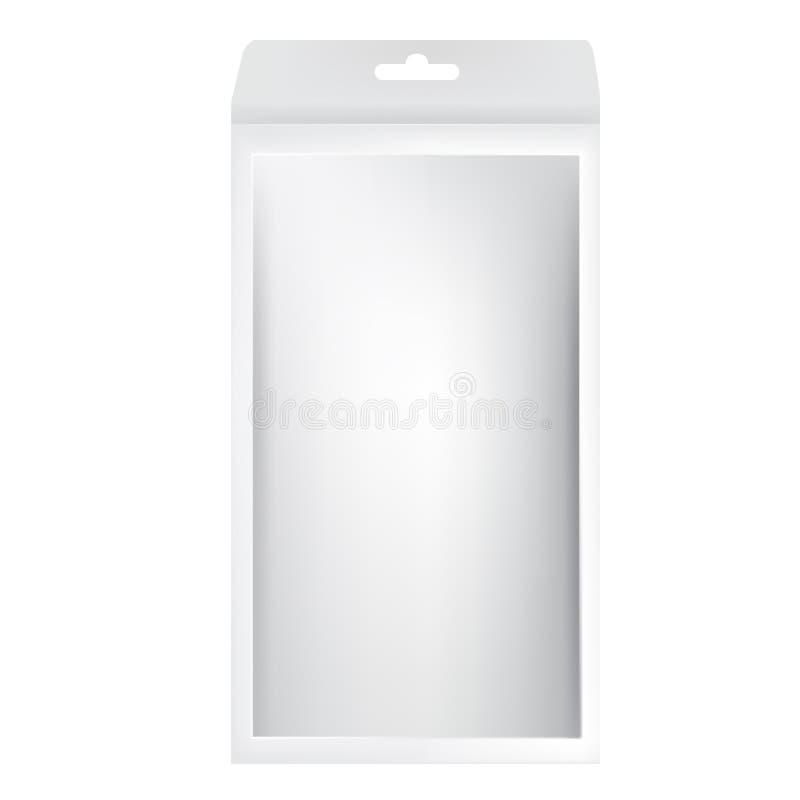 Scatola d'imballaggio lunga grigia bianca con il foro da appendere e la finestra anteriore royalty illustrazione gratis