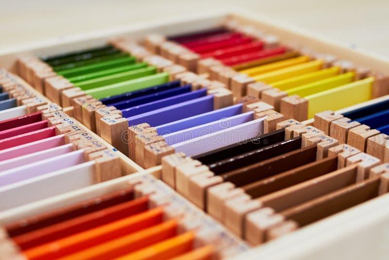 Scatola dei colori 3 di Montessori immagine stock libera da diritti
