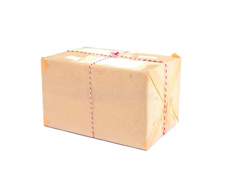 Scatola del pacchetto del primo piano isolata su fondo bianco fotografia stock