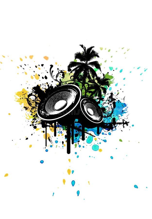 Scatola del partito di lerciume in manifesto stereo con le palme e acquerello che spruzza nei precedenti fotografie stock