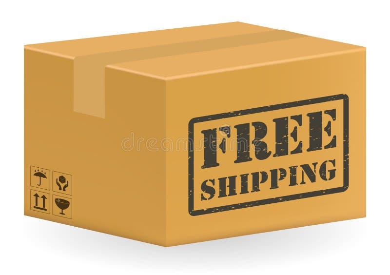 Scatola del prodotto del pacchetto di Brown con trasporto libero illustrazione vettoriale