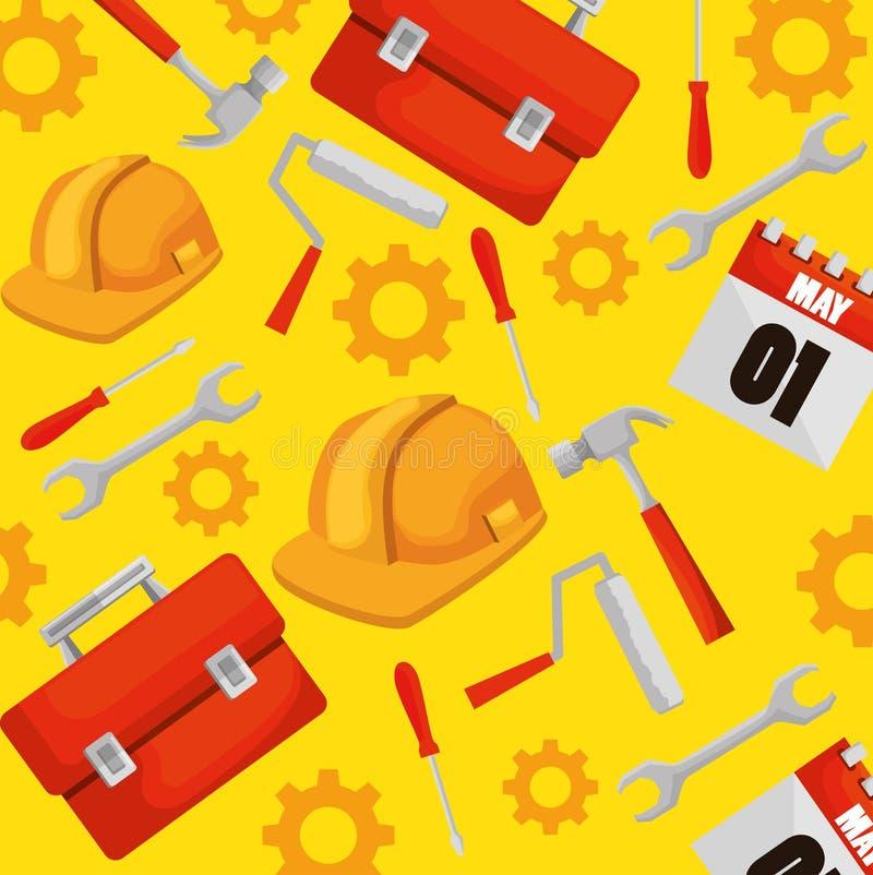 Scatola della costruzione con il fondo professionale degli strumenti royalty illustrazione gratis