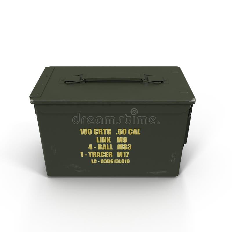 Scatola della pallottola del metallo isolata su fondo bianco immagine stock