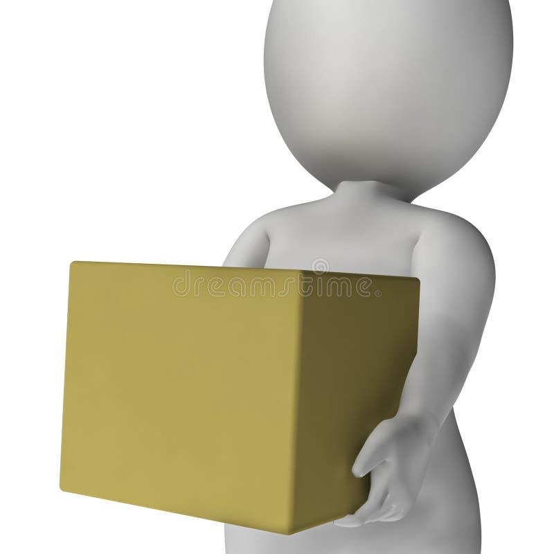 Scatola della tenuta dell'uomo che mostra consegna e che porta i pacchetti royalty illustrazione gratis