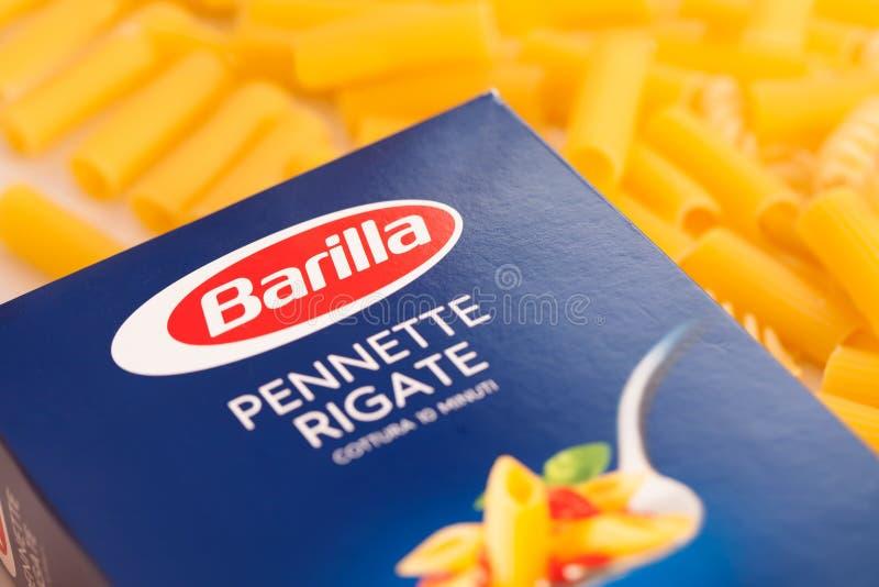 scatola di barilla della pasta Il gruppo della barilla produce parecchi generi di pasta ed è il worl fotografia stock