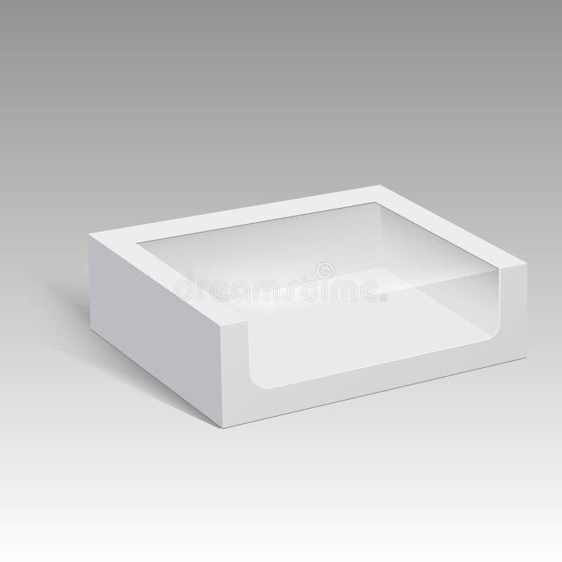 Scatola di carta in bianco che imballa per il panino, l'alimento, il regalo o altri prodotti con la finestra di plastica Illustra illustrazione vettoriale