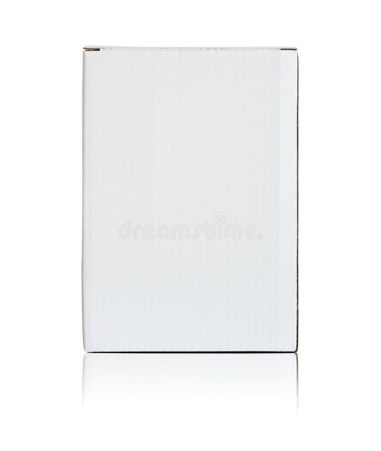 Scatola di cartone bianca in bianco fotografia stock