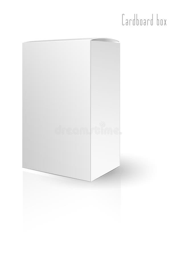 Scatola di cartone bianca sui precedenti bianchi Illustrazione di vettore illustrazione vettoriale