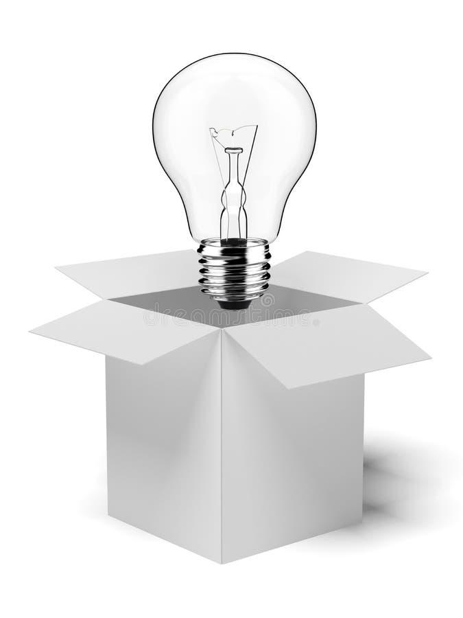 Scatola di cartone con la lampadina accesa illustrazione