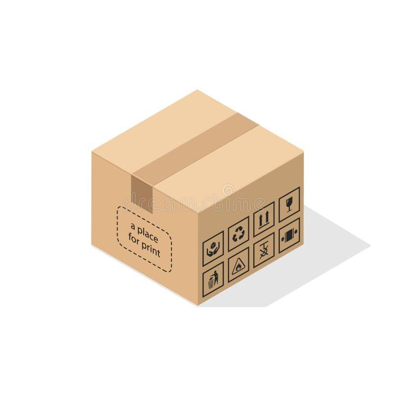 Scatola di cartone con ombra piana illustrazione di stock