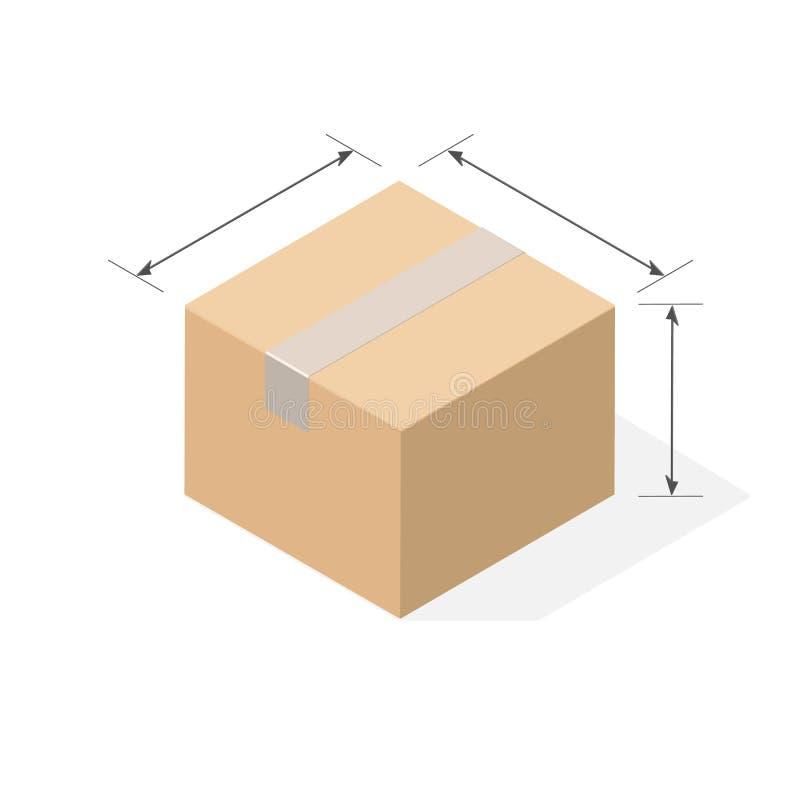 Scatola di cartone con ombra piana illustrazione vettoriale