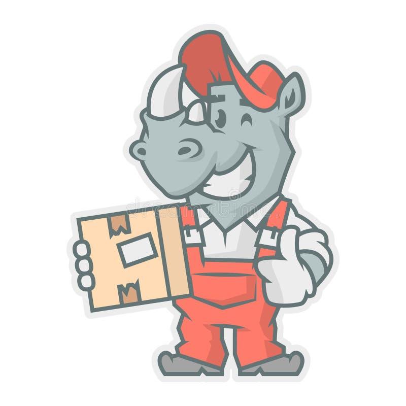 Scatola di cartone della tenuta del carattere del rinoceronte illustrazione di stock