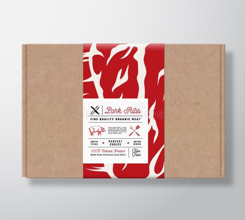 Scatola di cartone premio del mestiere delle costole di carne di maiale di qualità Contenitore di carta della carne astratta di v illustrazione vettoriale