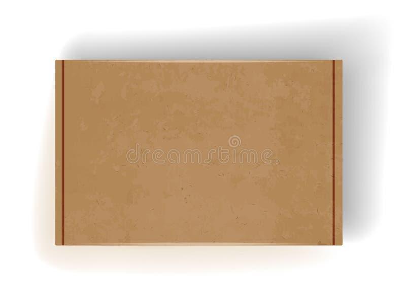 Scatola di cartone realistica con ombra Su fondo bianco illustrazione di stock