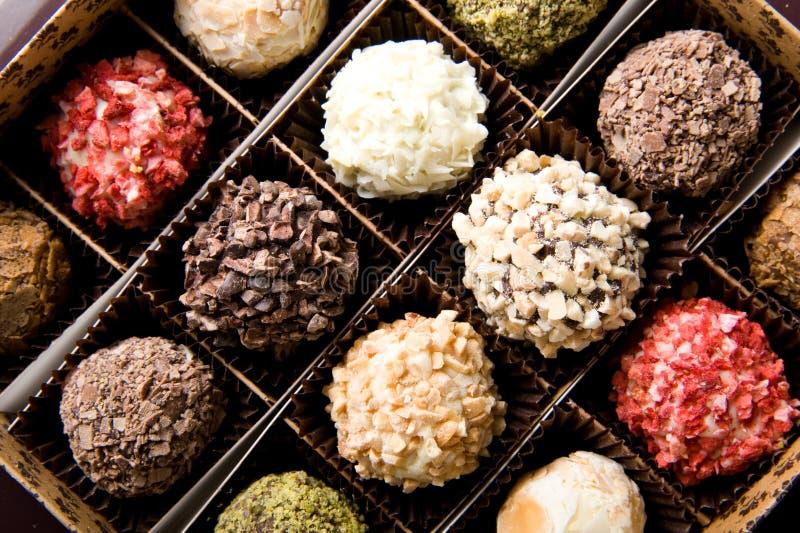 Scatola di cioccolato handmade di lusso differente immagine stock libera da diritti