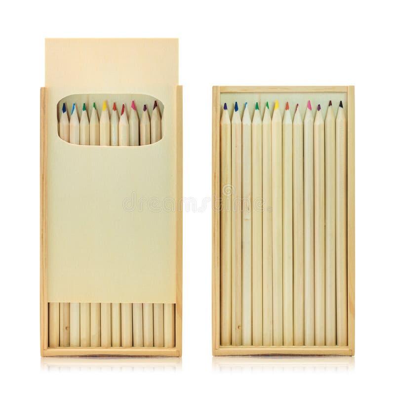Scatola di colore delle matite isolata su fondo bianco Colore variopinto delle matite per la vostra progettazione Percorso di rit fotografia stock