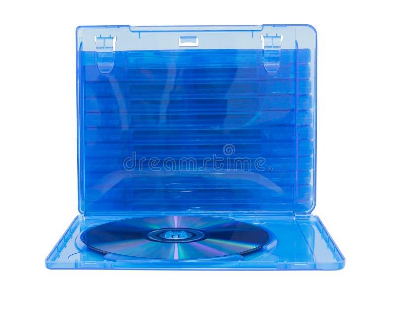 Scatola di DVD con il disco su bianco fotografia stock libera da diritti