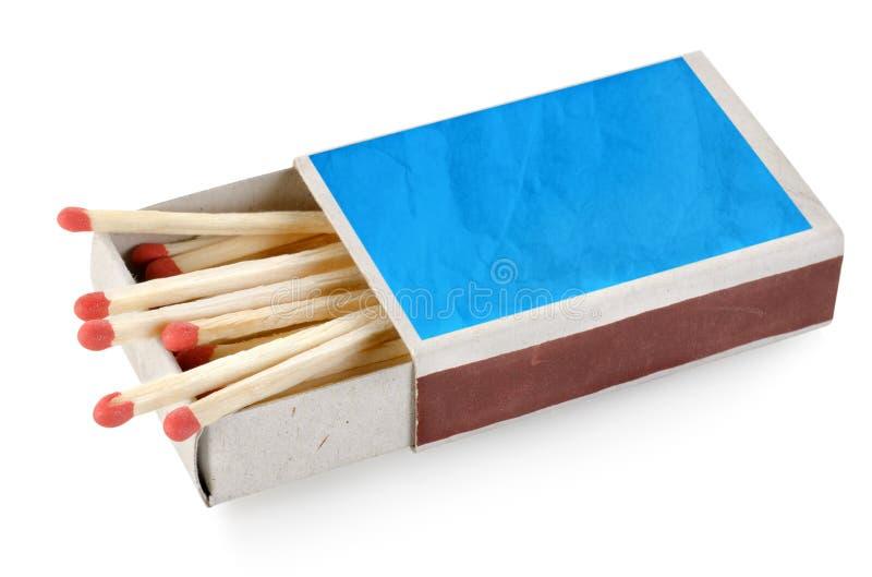 Scatola di fiammiferi blu isolata fotografia stock