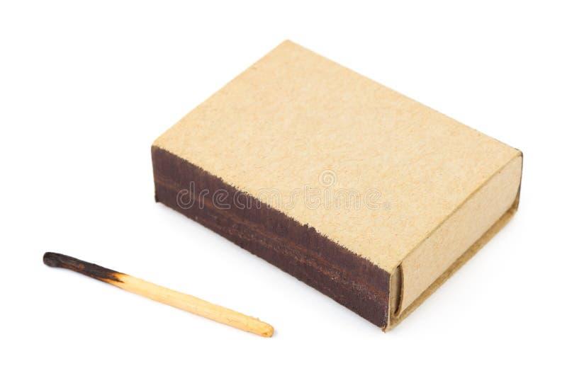 Scatola di fiammiferi e corrispondenza bruciata immagine stock