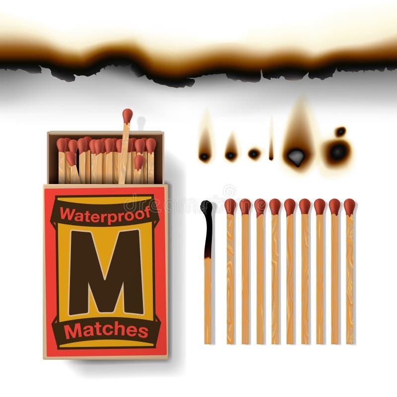 Scatola di fiammiferi e partite illustrazione vettoriale