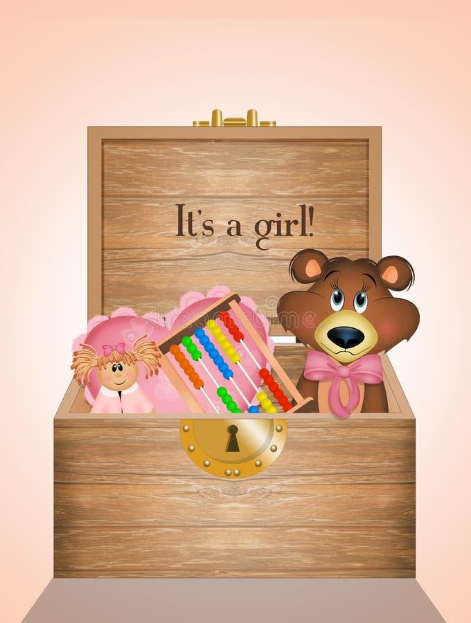 Scatola di legno con i giocattoli per la femmina del bambino illustrazione di stock