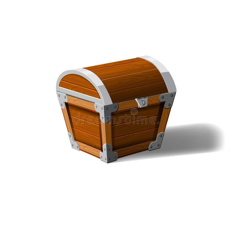 Scatola di legno del petto chiuso del pirata Simbolo delle ricchezze di ricchezza Progettazione piana di vettore del fumetto per  royalty illustrazione gratis