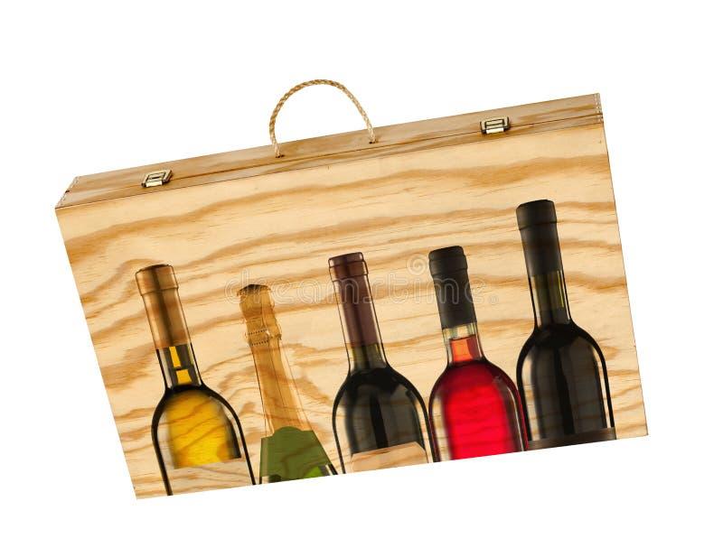 Scatola di legno per le bottiglie di vino. fotografia stock
