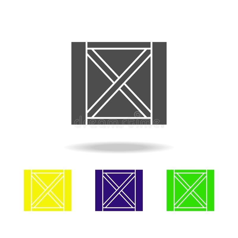 scatola di legno per le icone multicolori di trasporto Segni ed icona per i siti Web, web design, app mobile della raccolta di si illustrazione di stock
