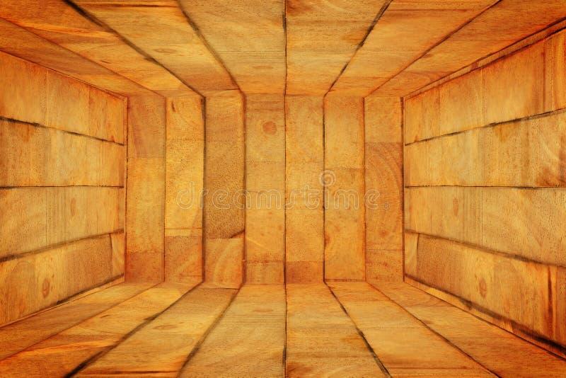 Scatola di legno vuota interna immagini stock