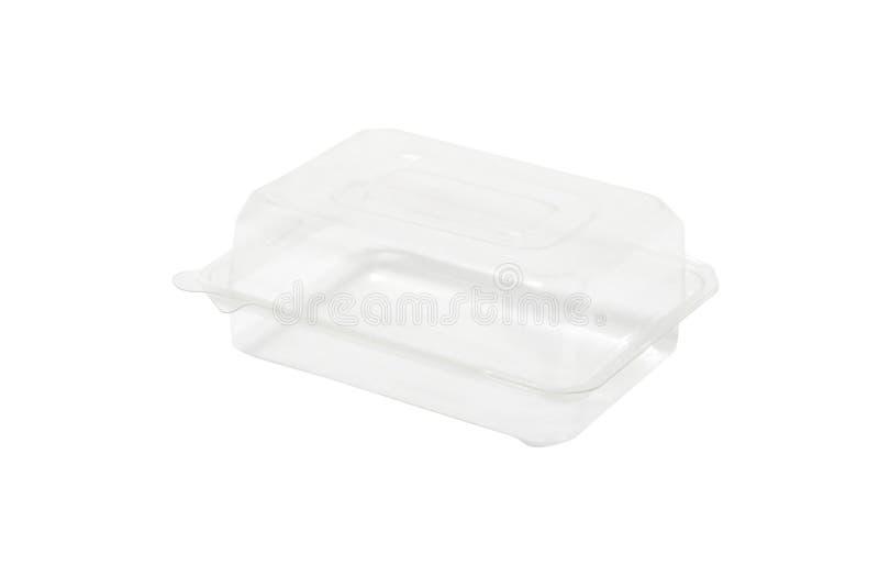 Scatola di plastica trasparente chiusa di imballaggio per alimenti isolata su bianco fotografie stock
