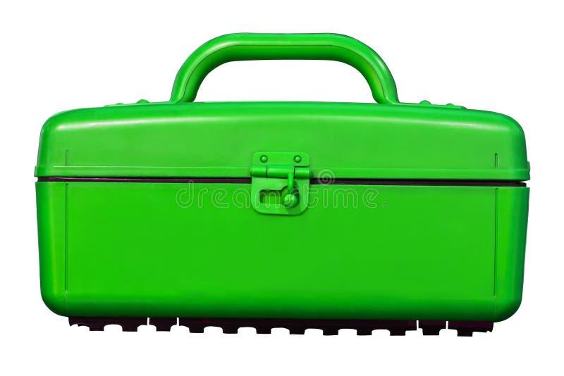 Scatola di plastica verde d'annata isolata del dispositivo di raffreddamento su bianco fotografia stock