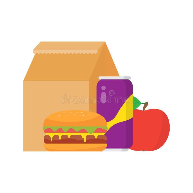Scatola di pranzo alla scuola illustrazione di stock