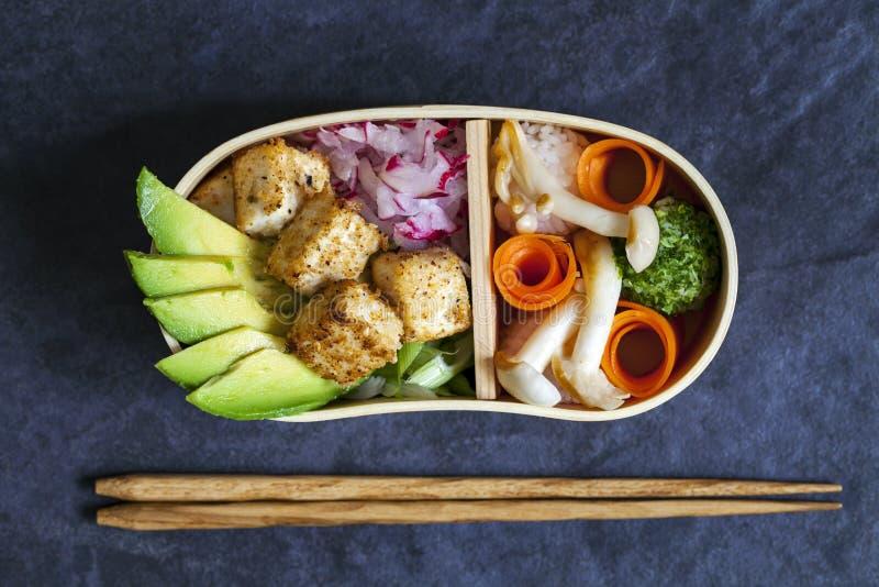 Scatola di pranzo giapponese di bento con il tofu fotografia stock