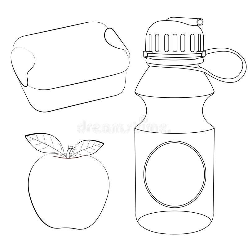 Scatola di pranzo, mela, pagina di coloritura della bottiglia di acqua illustrazione vettoriale