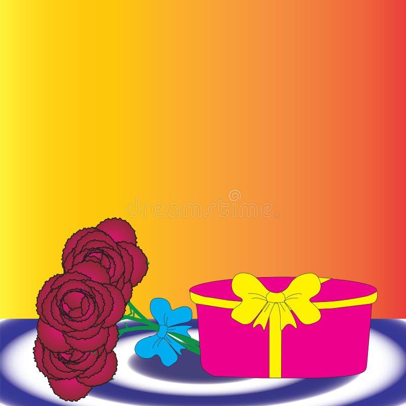 Scatola di regalo e mazzo di fiori illustrazione di stock