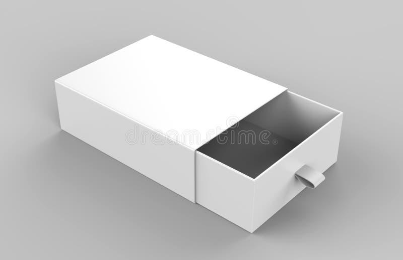 Scatola di scivolamento realistica del cartone del pacchetto su fondo grigio Per gli elementi poco importanti, le partite ed altr illustrazione vettoriale