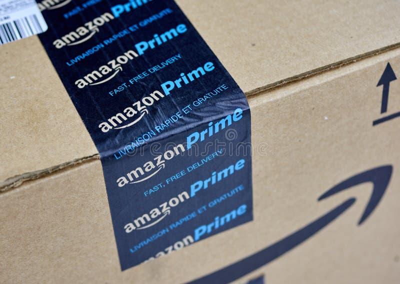 Scatola di spedizione di perfezione di Amazon fotografia stock libera da diritti