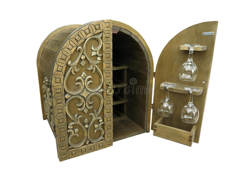 Scatola di stoccaggio decorata di legno del vino isolata sopra bianco fotografie stock