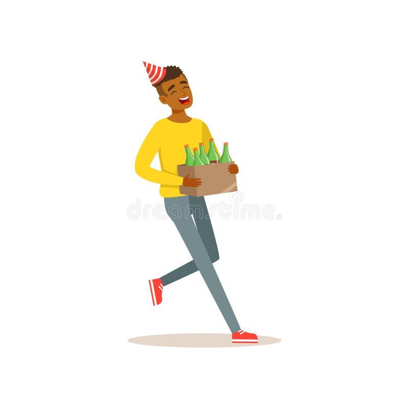 Scatola di trasporto del ragazzo nero allegro delle bevande alcoliche per la celebrazione di compleanno Carattere dell'adolescent illustrazione vettoriale