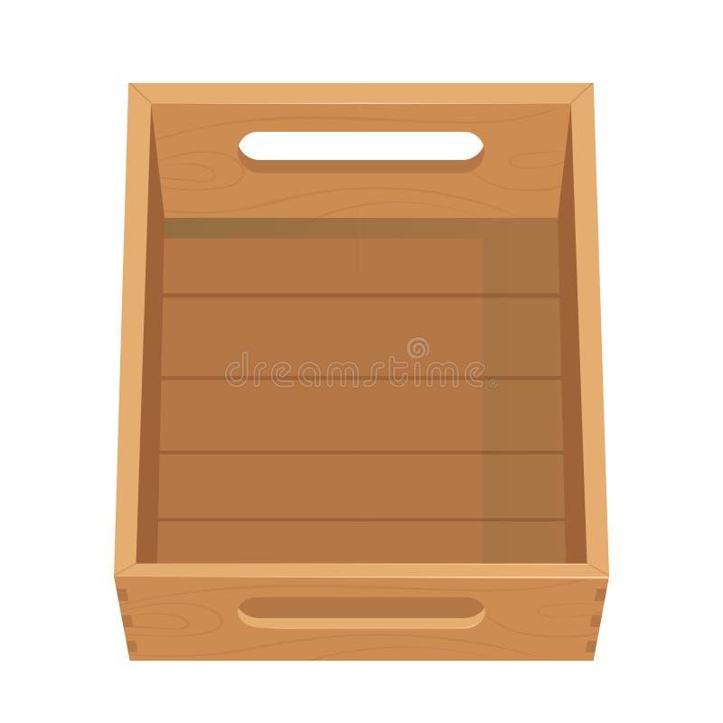 Scatola di verdure di legno con i fori Vista frontale del cassetto della frutta Cassa isolata su fondo bianco Scatola per stoccag illustrazione di stock