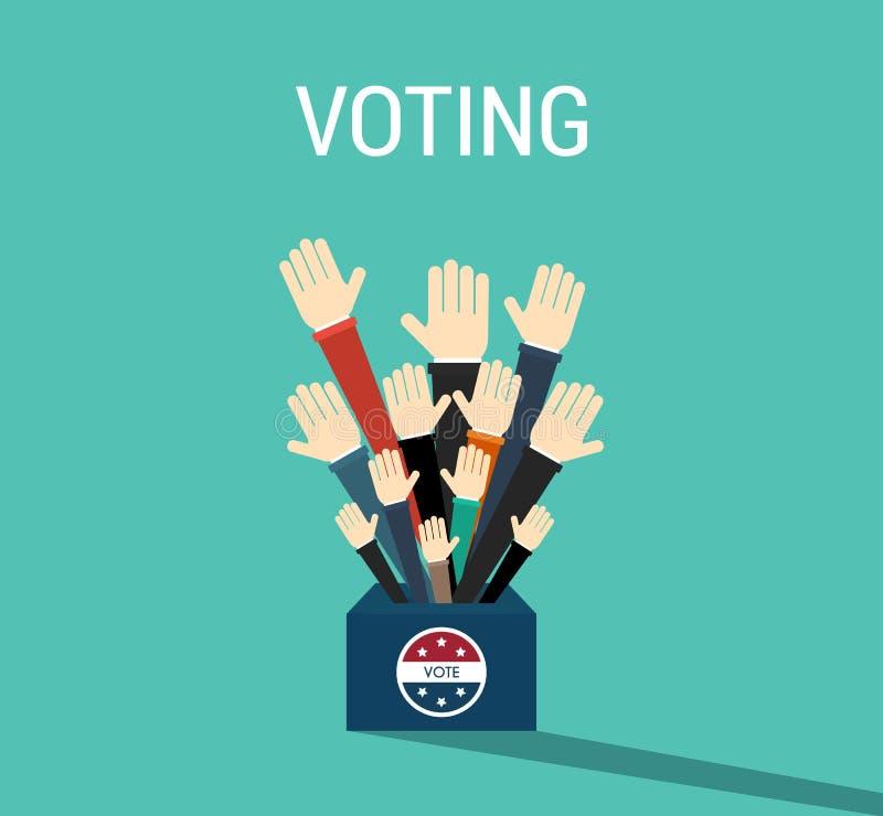 Scatola di voto di giorno di elezioni presidenziali Americano Flag& x27; s Ele simbolico illustrazione vettoriale